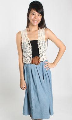Lace vest/ cami/ black skirt/ wide belt