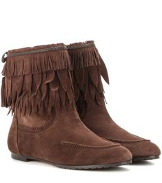 Aquazzura Tiger Lilly suede ankle boots Chocolate                    $159.00