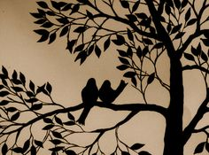 Painting - Birds & Tree Silhouette