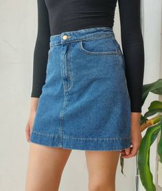 Just arrived! The NEW Easy Denim A-Line Skirt also available in Pale Yellow! #AmericanApparel #AANew #MadeinUSA