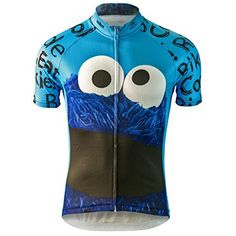 Cookie Monster Sesame Street Cycling Jersey (Men's) (Smal... : )