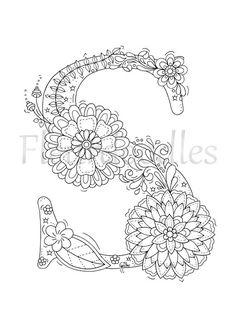 Malseite zum Ausdrucken Buchstabe S floral von Fleurdoodles