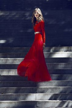 Nora by Zlatimir Arakliev for Harper's Bazaar - red dress - 2014