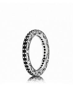 PANDORA Ring - Sterling Silver & Black Crystal Eternity | Bloomingdale's