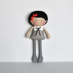 "My Teeny-Tiny Dolls® are 11""/28cm handmade fashion dolls great for the young as well as the ""young at heart"". Its teeny-tiny size means they are great for tiny little hands and small enough to be popped in your bag for daily outings.Made from cotton fabrics and wool blend felt, it is filled with poly-fill for softness. Due to its handmade nature, best to spot clean only. NB: Teeny-tiny journal and pencil not included"
