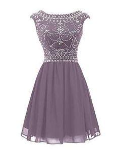 Wedtrend Women's Short Beading Homecoming Chiffon V-back Prom Dress WT10145Grape2