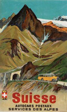 Vintage Travel Poster by Wieland / Suisse - Autocars postaux - Services des Alpes