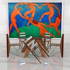 """Diciembre 2016. Colección DANZA - Estilo CRISOL. Diseños de Ernesto Oñate. Inspirado en el cuadro de Henri Matisse """"La Danza"""" de 1909 y expuesto en el Museo del Hermitage de San Petersburgo, Rusia.  Silla, sillón, taburete o mueble auxiliar emergen de esta idea."""