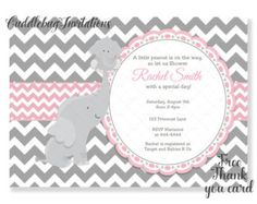 Baby Shower Invitation Elephant baby shower by JCpartyprint