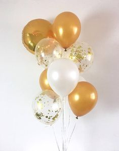 Welcome to Oh How Charming! • This listing is for (1) 18 round double sided self sealing gold mylar balloon and (3) gold (3) pearl white and (3) clear gold mylar confetti 11 latex balloons. ~ Balloons ship flat & deflated ~ Clear Balloons are pre-stuffed with confetti ~ Can be filled