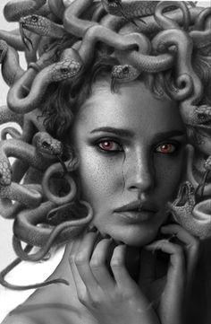 Medusa Art, Medusa Gorgon, Ufo Tattoo, Statue Tattoo, Tattoo Photography, Dark Photography, Black And White Portraits, Black And Grey Tattoos, Medusa Pictures