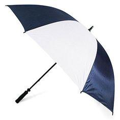 UK Golf Gear - Navy & White Plain Golf Umbrella #GolfUmbrella
