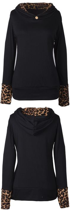Only $21.99. Free shipping& Easy returns! You will be able to get this leopard pattern, hooded, Ornamental button sweatshirt in a few days from now. Go check it and get surprised at Cupshe.com !