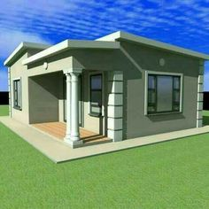 Flat Roof House Designs, House Fence Design, Latest House Designs, Small House Design, Free House Plans, House Layout Plans, Family House Plans, Small Cottage Homes, Cottage Plan