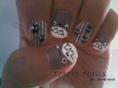 totoro nails :3 the best friend would love these :D
