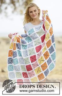 "Too Much Fun - Crochet DROPS blanket with squares in ""Paris cotton"". - Free pattern by DROPS Design Crochet Diy, Crochet Afghans, Manta Crochet, Crochet Blanket Patterns, Knitting Patterns, Crochet Blankets, Free Knitting, Cotton Crochet, Point Granny Au Crochet"