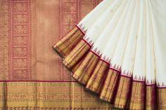Handwoven Kanjivaram Silk Sari with Gopuram Korvai, Vel Border 1030621 - Saris / All Saris - Parisera Phulkari Saree, Silk Saree Kanchipuram, Banarsi Saree, Kanjivaram Sarees, Pochampally Sarees, Velvet Saree, Satin Saree, Soft Silk Sarees, Indian Bridal Sarees
