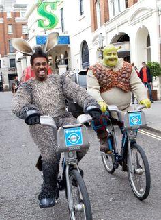Donkey and Shrek on Boris bikes... quite a sight! #cycling #London #TFL