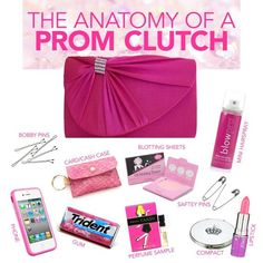 Memorable Prom Tips Prom Purse Clutch – What to bring. Memorable Prom Tips – beauty, dresses, shoes, decorations, e Prom Checklist, School Checklist, Prom Essentials, Prom Tips, Prom Ideas, Estilo Hipster, Prom Dance, Dance Hair, Prom Accessories