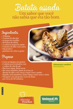 Troque a batata frita pela assada! Com esta receita, as batatas ficam crocantes por fora e macia por dentro Alimentação saudável. #esseéoplano #unimedmanaus