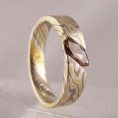 brown marquise cut diamond mokume gane ring