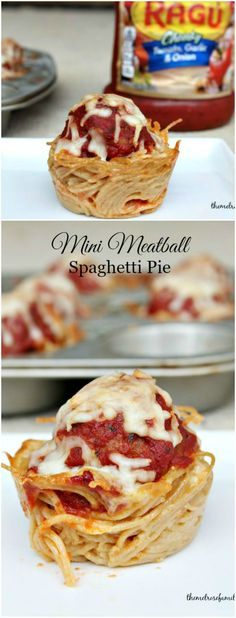 This simple recipe of Mini Meatball Spaghetti Pie are the perfect fun weeknight dinner for the whole family or a great appetizer for game day! Mini Meatball Spaghetti Pies are the perfect appetizers that are kid and adult friendly. Mini Meatballs, Spaghetti And Meatballs, Recipes Using Meatballs, I Love Food, Good Food, Yummy Food, Tasty, Spaghetti Torte, Spaghetti Squash