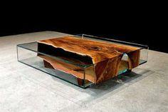 Mesa de cuero y vidrio