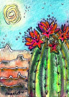 TRADED...BATIK #70 SUNNY BARREL CACTUS