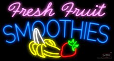 Fresh Fruit Smoothies Logo Real Neon Glass Tube Neon Signs,Affordable and durable,Made in USA,if you want to get it ,please click the visit button or go to my website,you can get everything neon from us. based in CA USA, free shipping and 1 year warranty , 24/7 service