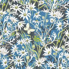 Another piece from Utopia Goods, Flannel Heath Moonlight in linen. Like an excerpt from a children's storybook from some bygone era. Flannel Flower, Kids Story Books, Mixing Prints, Botanical Art, Linen Fabric, Moonlight, Cotton Canvas, Printing On Fabric, Wallpaper