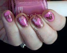 Lydia's Nails: Pink Glitter Heart Nails ♥