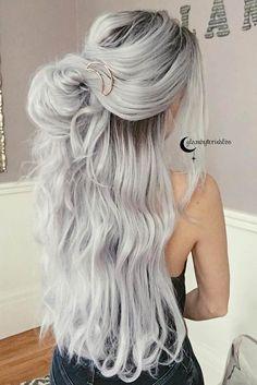 Gray Lace Frontal Wigs grey wigs with bangs – baiwangshop Grey Hair Wig, Lace Hair, Ombre Hair Color, Cool Hair Color, Gray Hair Highlights, Long Hair Cuts, Straight Hair, Silky Hair, Human Hair Wigs
