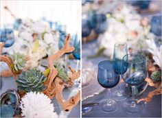"Elegant beach wedding incorporates driftwood, succulents, abalone, blue ""sea glass"" goblets"