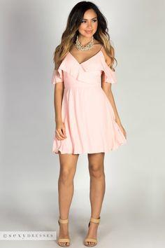 volantes de moda Blush gasa vestidos Dream de el rosa vestido Girl con fiesta color en de hombro Flirty qIxqT6Rw