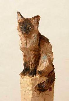 Jurgen Lingl Rebetez Ceramic Animals, Ceramic Art, Dremel Wood Carving, Whittling Wood, Cat Statue, Tree Carving, Custom Dog Portraits, Art Carved, Wooden Art