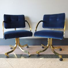 Navy blue velvet brass desk chair 525 on Bedroom office combo furniture