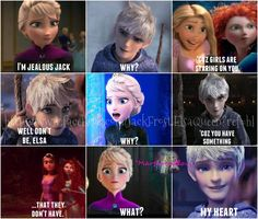 XD (This makes me super happy on a fangirl level. I'm sorry but there's too much jackunzel out there. SHE'S GOT EUGENE YOU GUYS! I will be so mad if Disney really does give Elsa a king in Frozen Jelsa is my OTP! Heros Disney, Disney Ships, Disney Jokes, Funny Disney Memes, Jelsa, Jack Y Elsa, Jack Frost And Elsa, Disney Couples, Cute Couples