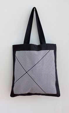Four Corners Hand-Printed Tote in Black and White - Geometric Tote