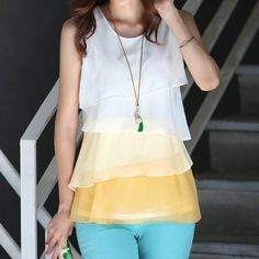 $8.62 Stylish Women's Scoop Neck Color Block Sleeveless Tiered Blouse