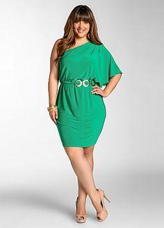 35b9518c074c Ashley Stewart  Web Exclusive  One-Shoulder Dress with Belt