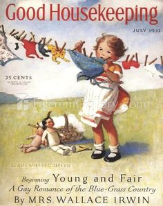 July 1932 Good Housekeeping Cover - art by Jessie Willcox Smith. Vintage Advertisements, Vintage Ads, Vintage Prints, Vintage Posters, Art Posters, Retro Advertising, Vintage Ephemera, Vintage Stuff, Vintage Paper