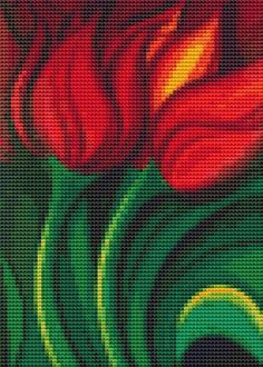 Mini Cross Stitch KIT - Tulips