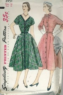 An original ca. 1950's Simplicity Pattern 3951.  This trim dress has kimono sleeves and a full skirt with pockets in the side seams.  View 1 has a tie collar, three quarter length cuffed sleeves and self fabric front band.  Dress buttons down entire front.  View 2 has a low V-shaped front neckline and short sleeves.  The dress buttons to hipline.  The front and neckline bands are contrasting.