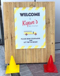 Welcome Signage from a Fireman Birthday Party on Kara's Party Ideas | KarasPartyIdeas.com (4)