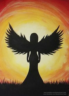 Acrylic Painting - Angel Silhouette Video available: https://youtu.be/oKfO_3v0fkA #AcrylicPainting #Painting #SilhouettePainting #AngelPainting