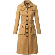 Lapel Pockets Belt Coat (210 BRL) ❤ liked on Polyvore featuring outerwear, coats, khaki, lapel coat, khaki coat, long coat with belt, brown coat and long lapel coat