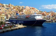 Ferry in the port of Ermoupolis (tilt shift) island, greece Syros Greece, Planet Earth 2, Paros, Cruise Vacation, Archipelago, Greece Travel, Greek Islands, Mykonos, Fishing Boats