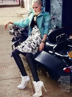 Biker Chic – Chrystal Copland stars in Vogue Portugal's April 2013 edition photographed by Kevin Sinclair.
