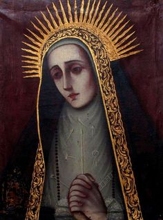 Virgen de los Dolores  A painting of Our Lady of Sorrows from a private collection in Puebla, Mexico.  The Arma Christi, the objects of Christ's Passion, have been embroidered onto Mary's dress.