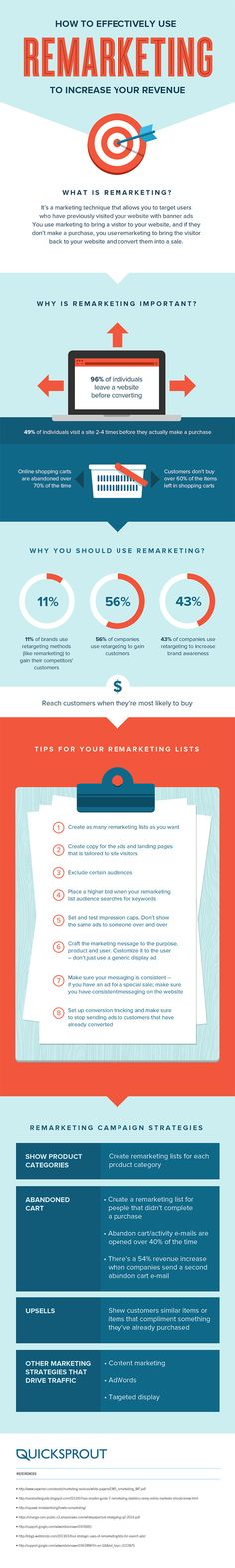 """Infographic: How to Effectively Use Remarketing to Increase Your Revenue. Remarketing is an excellent """"Return Path"""" in your Digital Marketing Strategy. Inbound Marketing, Digital Marketing Strategy, Marketing En Internet, Business Marketing, Content Marketing, Marketing And Advertising, Online Marketing, Social Media Marketing, Marketing Automation"""